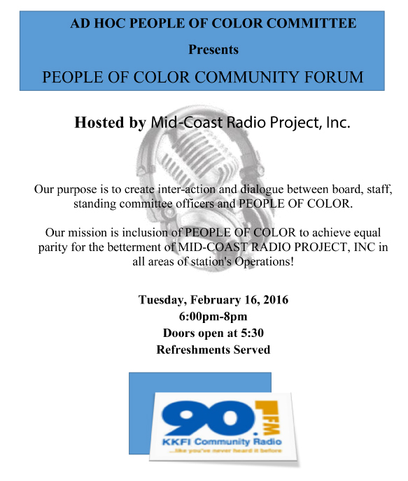 90.1FM KKFI - People of Color Community Forum @ 90.1FM KKFI Studios | Kansas City | Missouri | United States