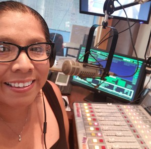 Native Spirit radio show host Rhonda LeValdo in the studio